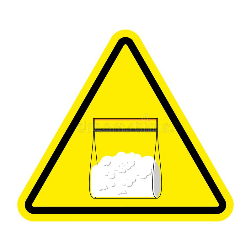 Drogues de signe d'attention Sachet en plastique de cocaïne d'isolement Illus de vecteur illustration de vecteur