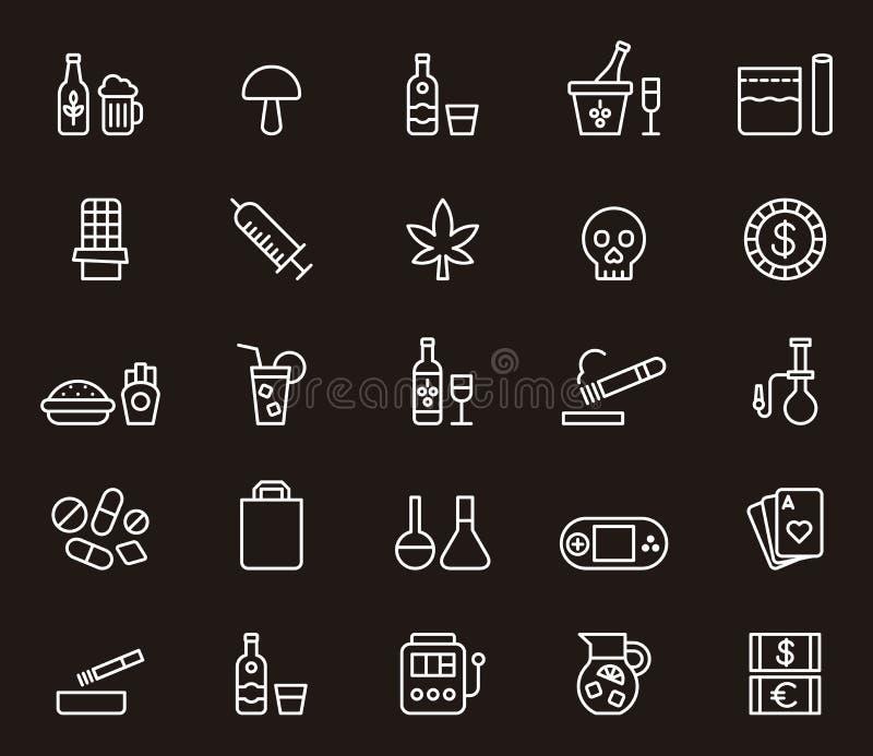 Drogues et icônes de dépendance illustration stock