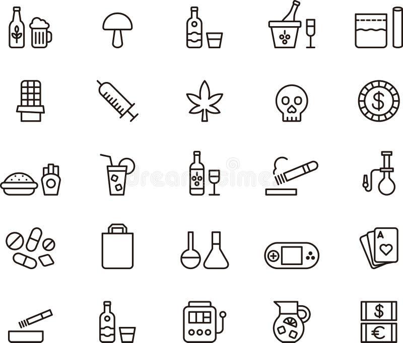 Drogues et icônes de dépendance illustration libre de droits
