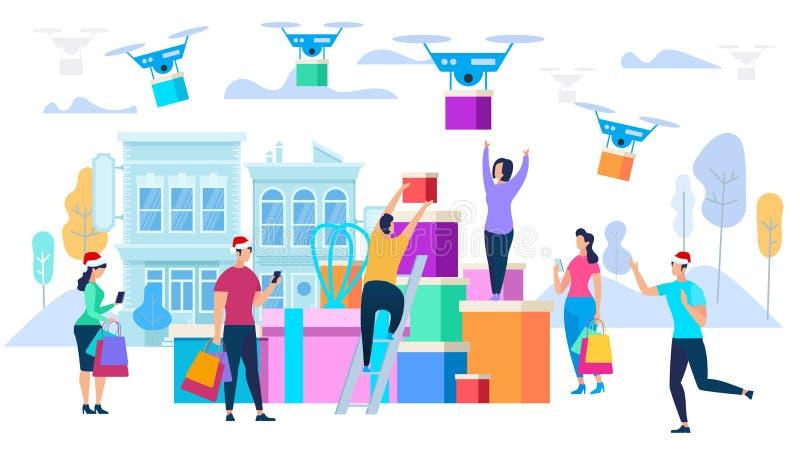 Drohnen Carry Purchases zu den Verbrauchern Lokalisiert auf weißem Hintergrund lizenzfreie abbildung