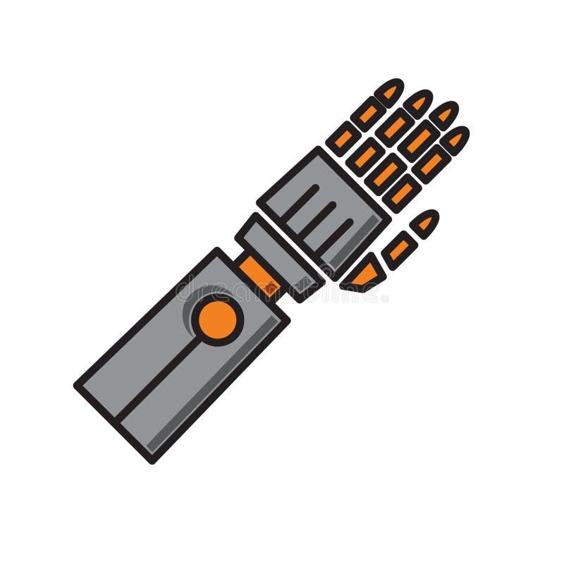Droid胳膊在白色背景的假肢象图表和网络设计的,现代简单的传染媒介标志 背景蓝色颜色概念互联网 时髦 向量例证