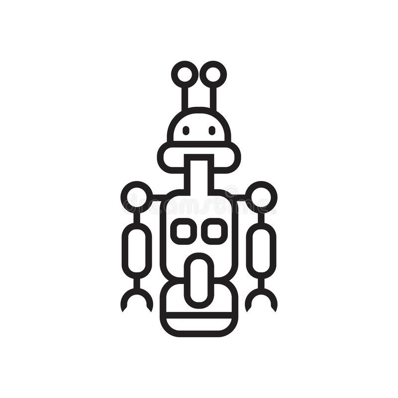 Droid象在白色背景和标志隔绝的传染媒介标志 库存例证