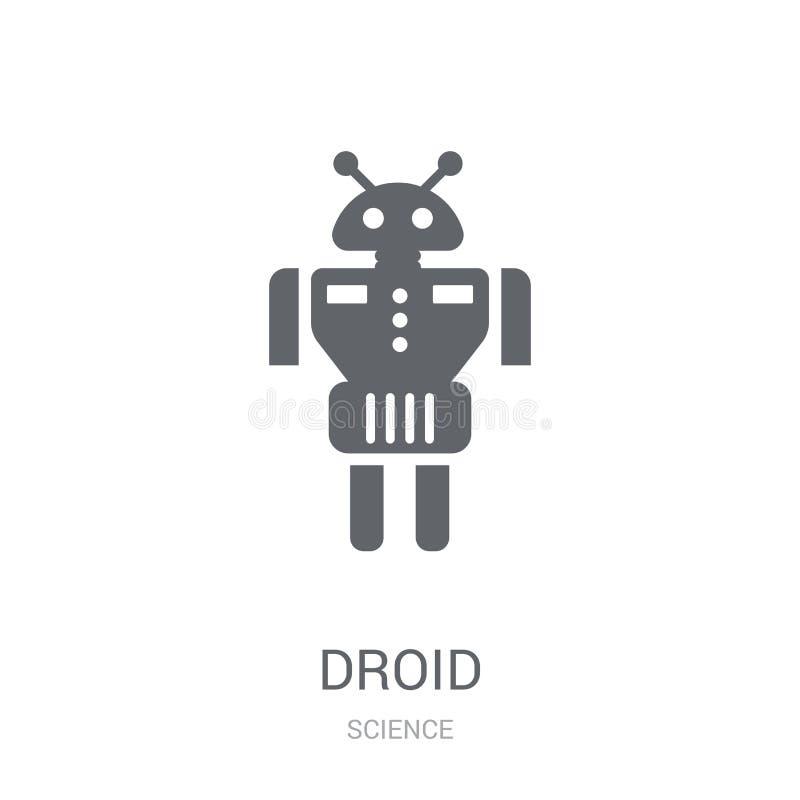 Droid象 在白色背景的时髦Droid商标概念从S 向量例证