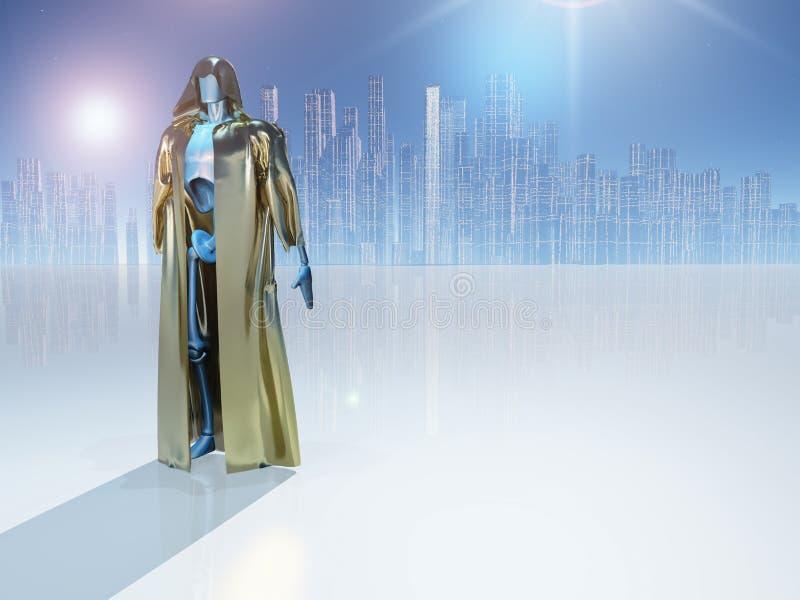 Droid dans la robe longue d'or illustration stock