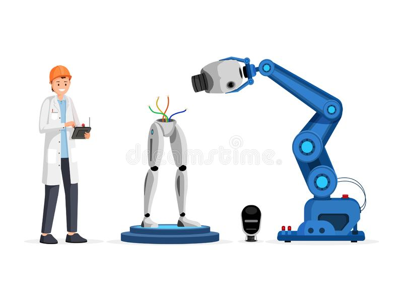 Droid engineering process flat vector illustration. Smiling scientist in hard hat holding controller device cartoon royalty free illustration