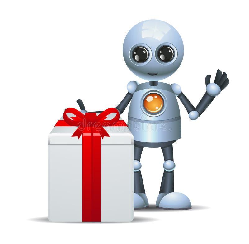 Droid heureux peu de cadeau d'anniversaire de robot sur le blanc d'isolement illustration libre de droits