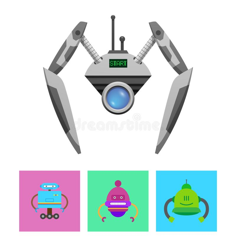 Droid mignon avec le message vert de début sur l'affichage illustration de vecteur