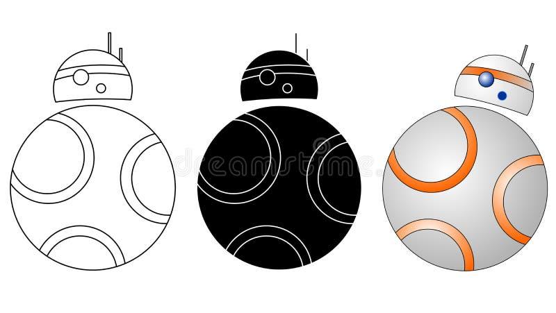 Droid, robot ikony bb 8 royalty ilustracja