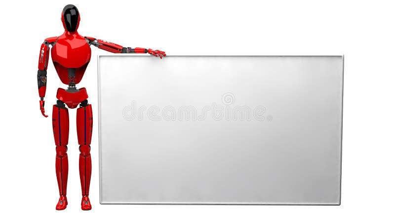 Droid rouge tenant la grande affiche blanche sur le fond blanc illustration stock