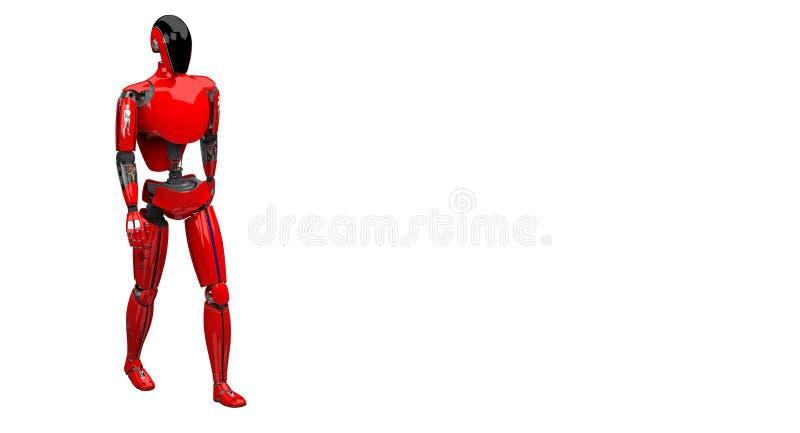 Droid som går på vit bakgrund stock illustrationer