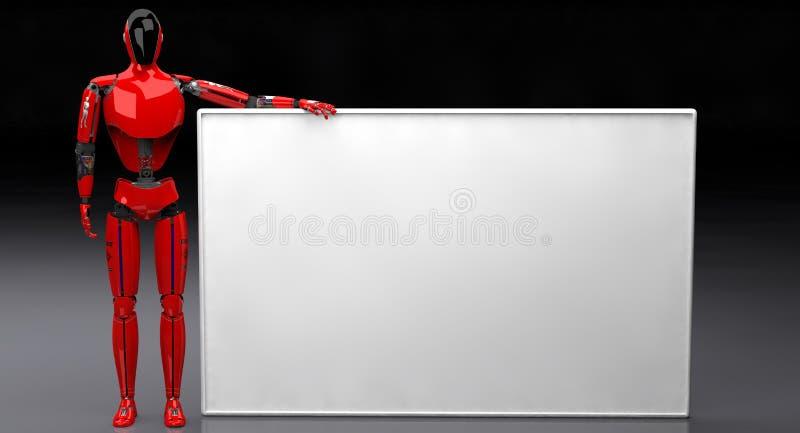 Droid trzyma białą deskę na ciemnym tle royalty ilustracja