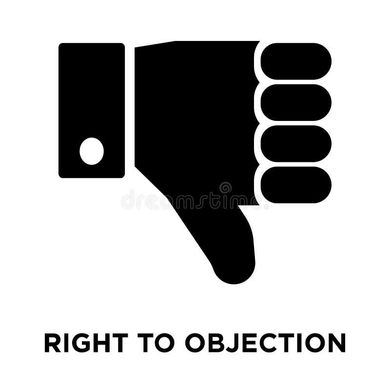 Droit au vecteur d'icône d'objection d'isolement sur le fond blanc, rondin illustration de vecteur