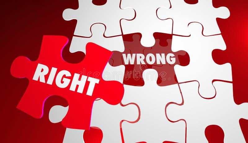 Droit contre les morceaux précis corrects faux de puzzle illustration de vecteur