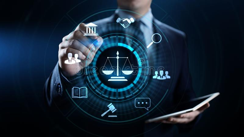 Droit du travail, avocat, avocat, concept d'affaires d'avis juridique sur l'?cran illustration libre de droits