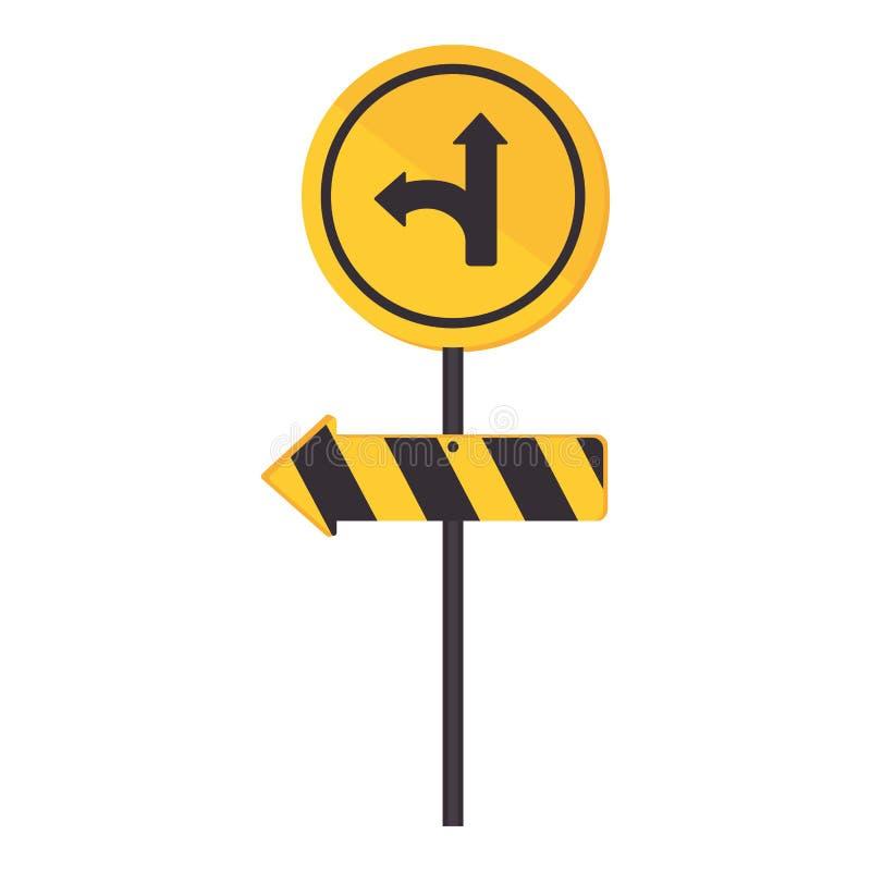 Droite circulaire de tour de panneau routier de découpe illustration de vecteur