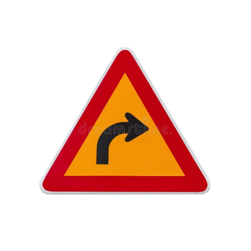 Droite dangereuse de tour, poteau de signalisation d'avertissement photos stock