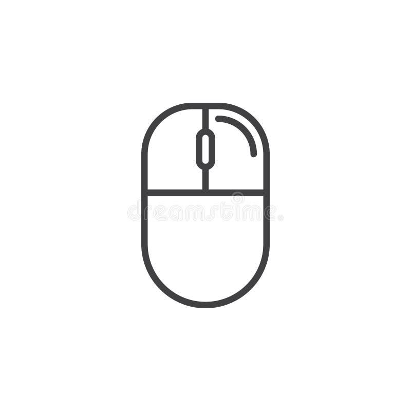 Droite de souris d'ordinateur - ligne icône de clic illustration libre de droits