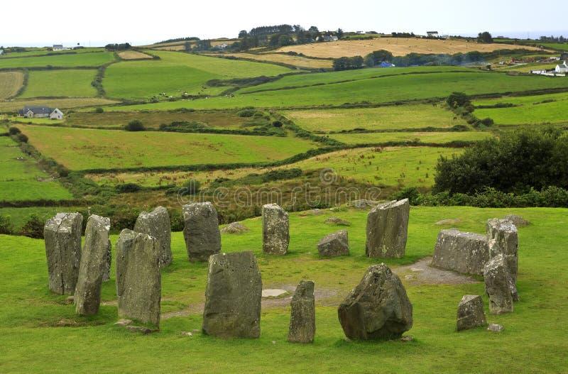 Drombeg在西部黄柏,爱尔兰的石头圈子 库存照片