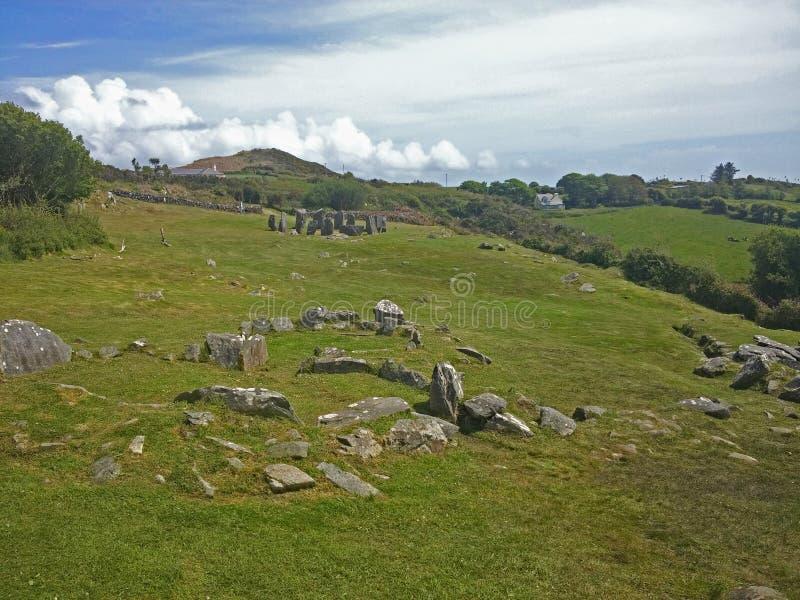 Drombeg kamienia okręgu Archeologiczny miejsce, Irlandia zdjęcie stock