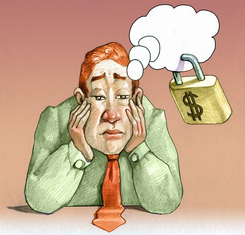 Dromen afhankelijk van geld conceptuele illustratie royalty-vrije illustratie