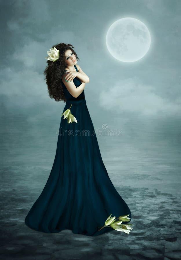 Dromen onder de maan royalty-vrije stock afbeelding