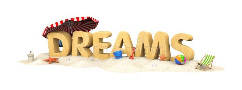 DROMEN - woord van zand stock illustratie