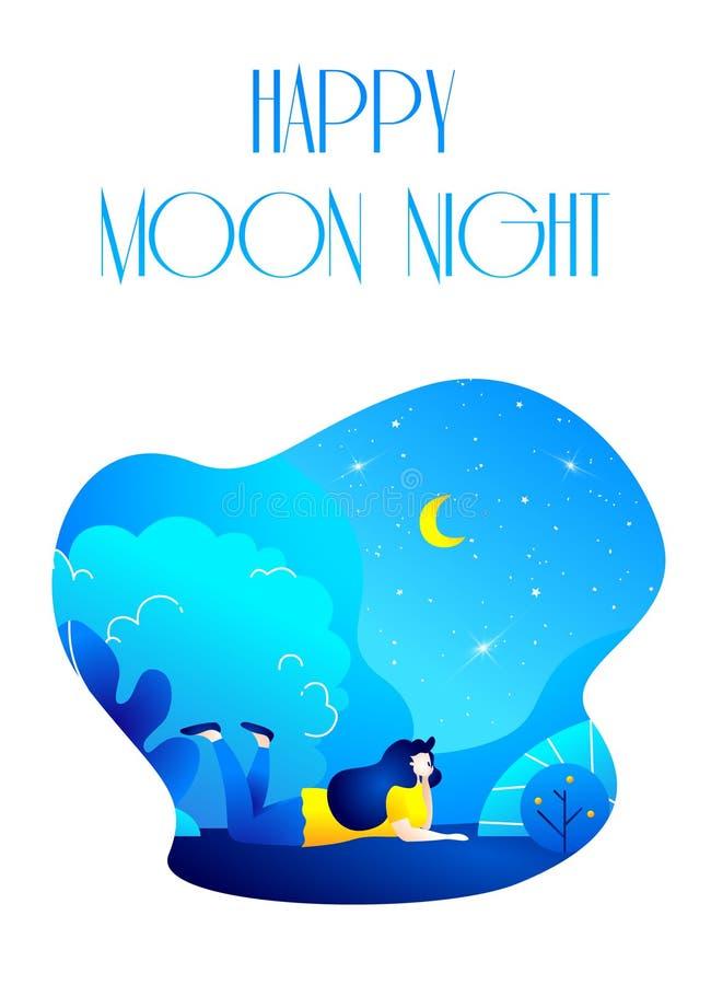 Dromend meisje in het park bij nacht Romantische illustratie in in vlakke stijl vector illustratie