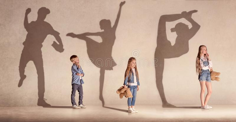 Dromende kinderen, creatieve collage royalty-vrije stock foto