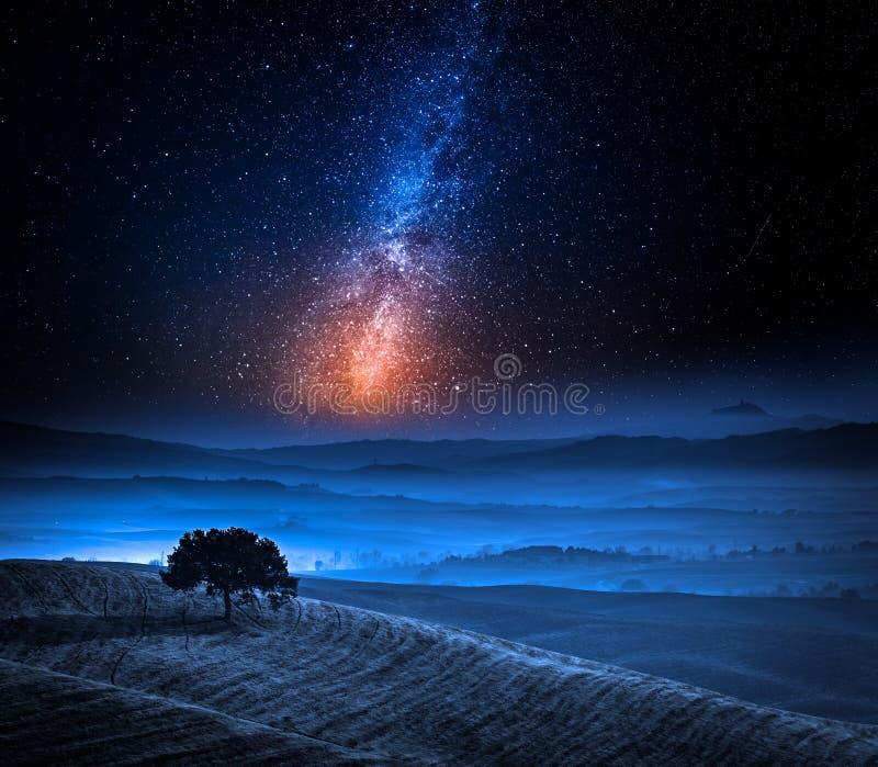 Dromenland in Toscanië met boom op gebied en melkachtige manier stock afbeelding