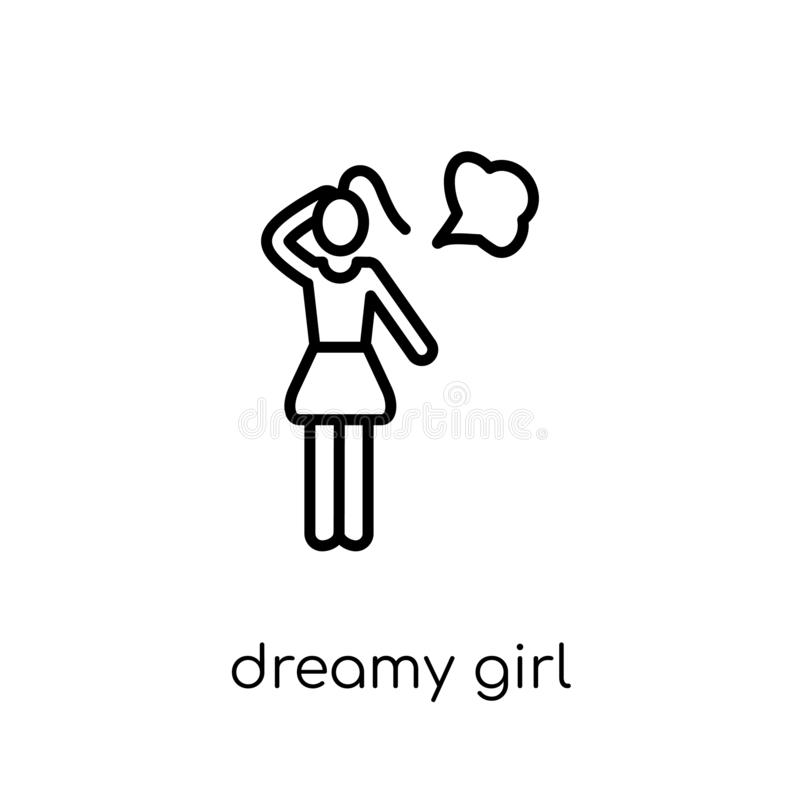 Dromerig meisjespictogram In modern vlak lineair vector Dromerig meisje i stock illustratie