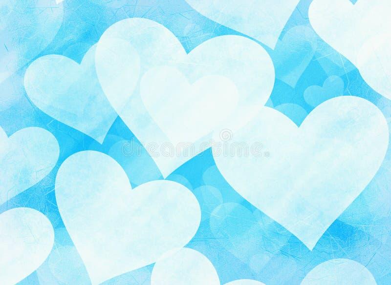 Dromerige bevroren lichte harten op blauwe achtergronden stock illustratie