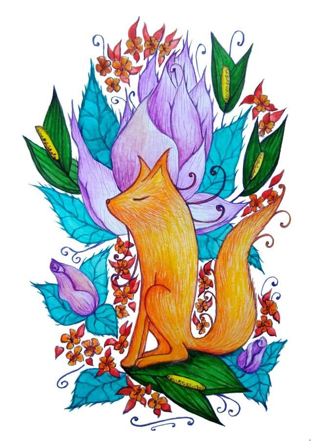 Dromerige brandvos op de achtergrond van bloemen stock illustratie