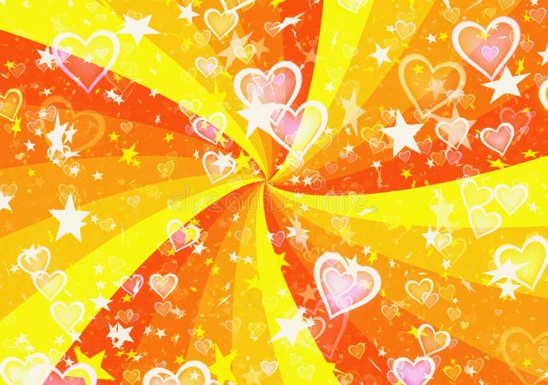 Dromerige lichte harten en sterren op de achtergronden van zonstralen royalty-vrije illustratie