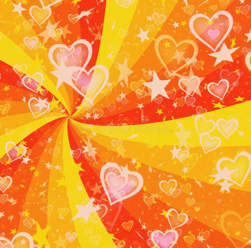 Dromerige lichte harten en sterren op de achtergronden van zonstralen stock illustratie