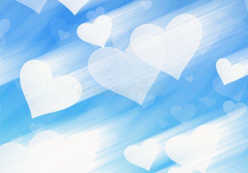 Dromerige lichte harten op blauwe achtergronden royalty-vrije illustratie