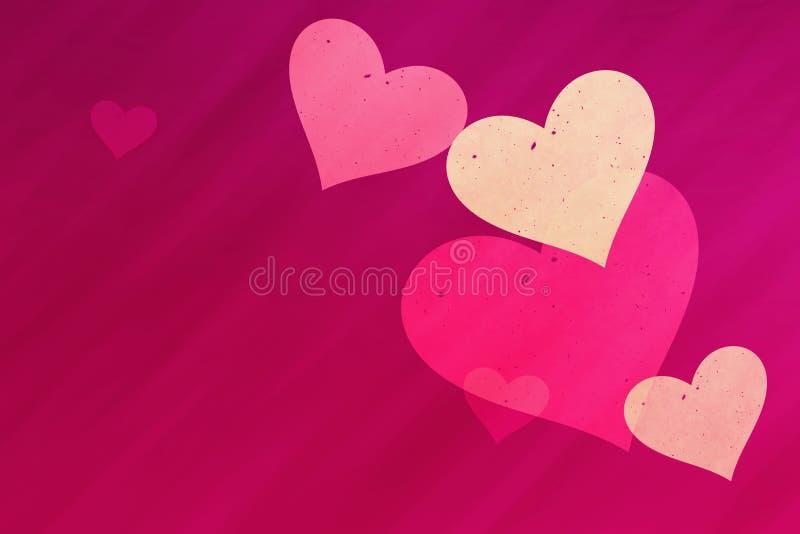 Dromerige lichte harten op rode stralenachtergronden met exemplaarruimte vector illustratie