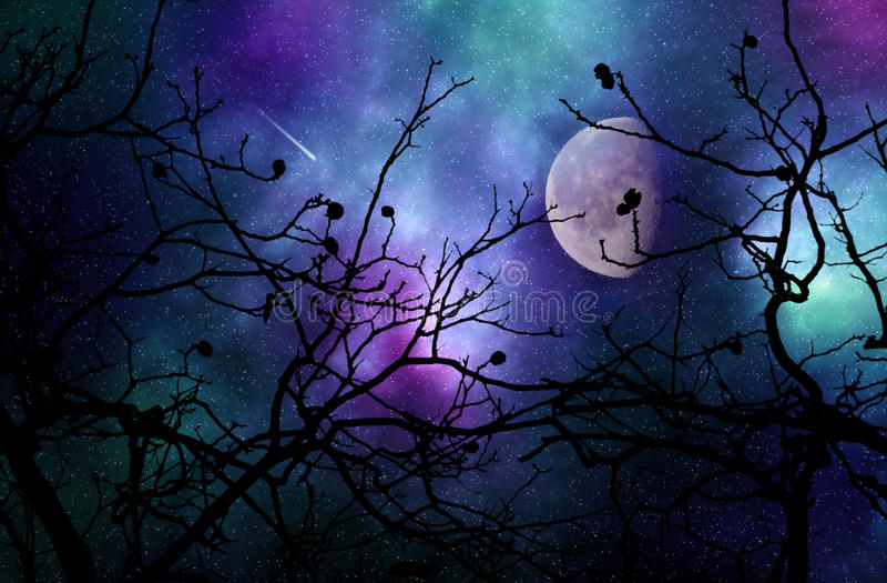 Dromerige nachthemel royalty-vrije illustratie