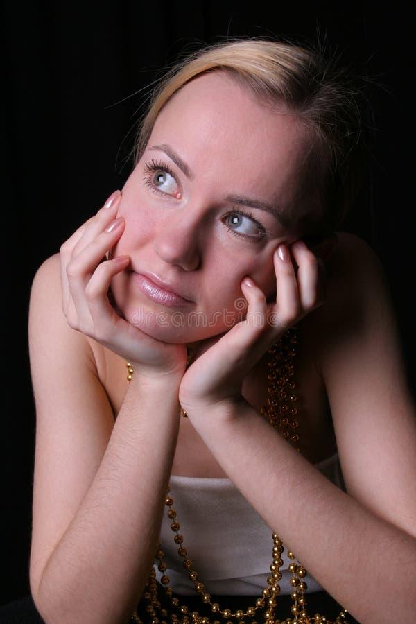 Dromerige vrouw royalty-vrije stock foto