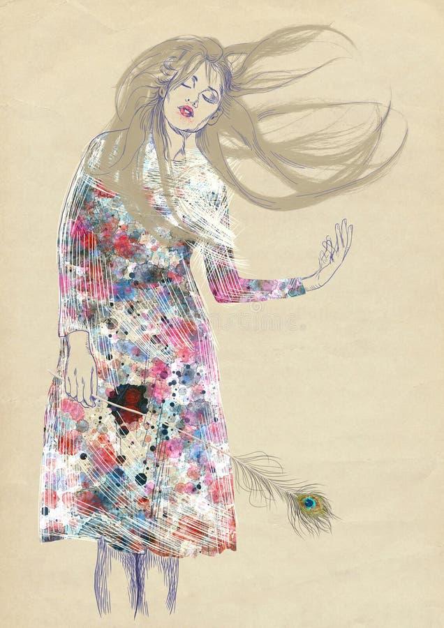Dromerige vrouw royalty-vrije illustratie