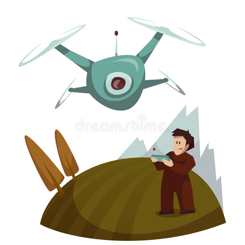 Dron with camera flying and man control it. Vector. Illustration royalty free illustration