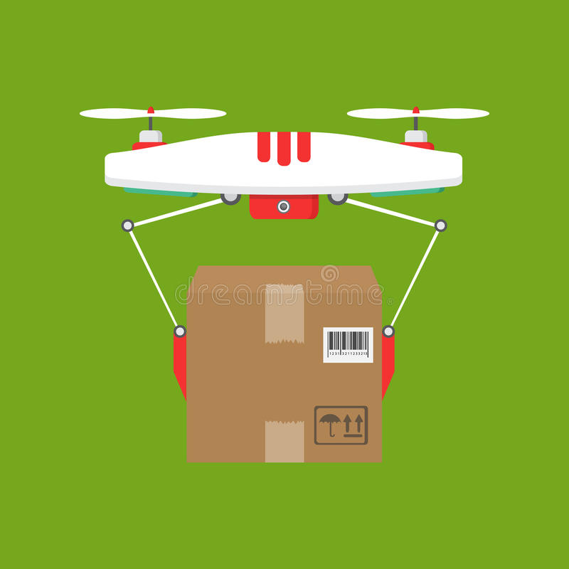 Dron delivers the parcel. The concept of fast, free delivery, gi. The concept of fast, free delivery, gift. Vector illustration. Dron delivers the parcel vector illustration