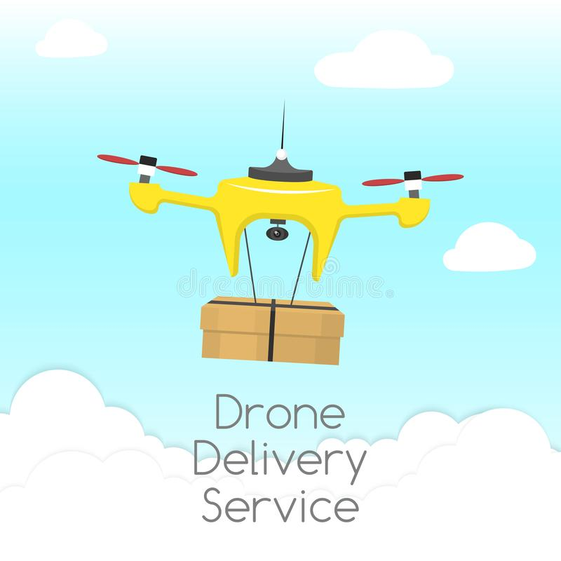 Dron delivery service vector illustration. Drone deliverying package to customers against sky background with clouds. Fast and convenient transportation stock illustration