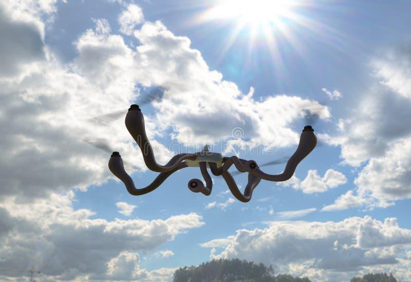 Dron futurista com conceito dos tentáculos ilustração 3D ilustração royalty free