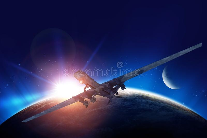 Dron Mission Illustration. Dron Mission Conceptual Illustration. Planet Earth Sunrise and the Moon in the Background vector illustration