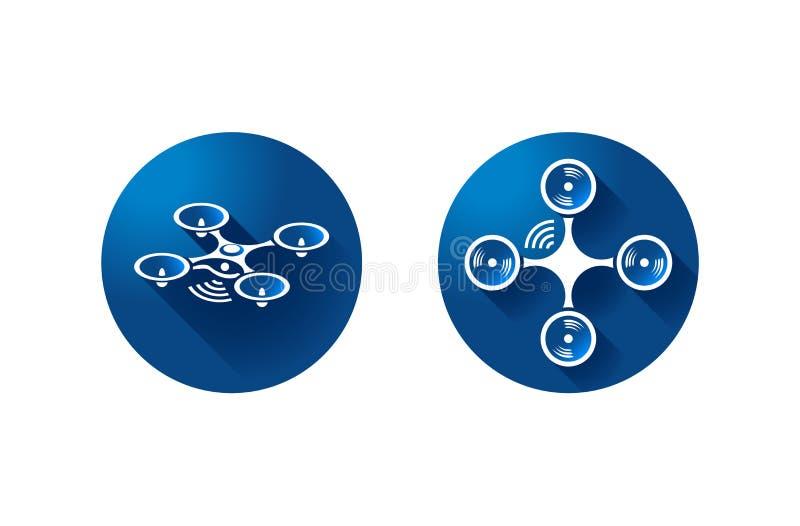 Dron quadrocopter icon on blue background. symbol vector.  vector illustration