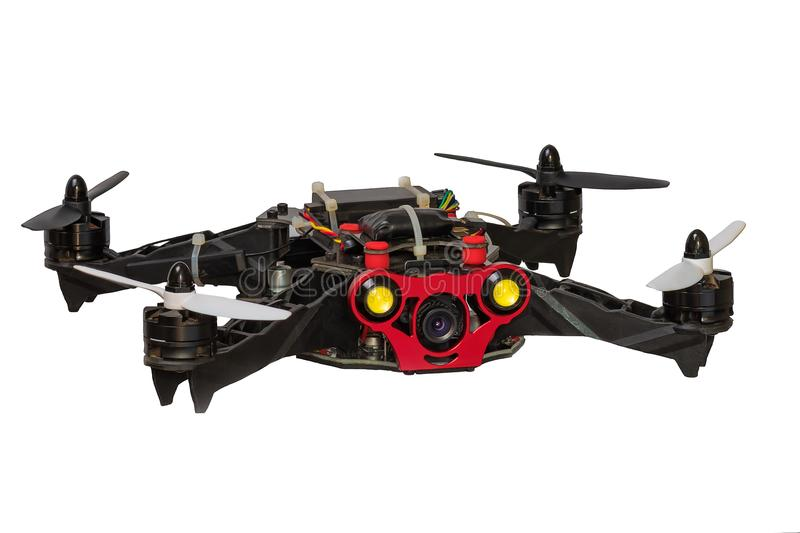 Dron quadrocopter isolated on white background. royalty free stock photos