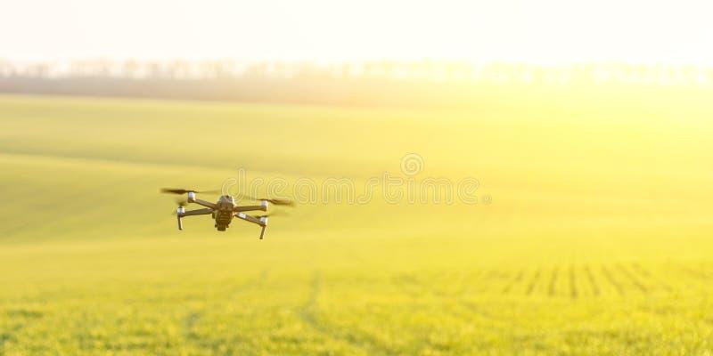 Drone που πετάει πάνω από ηλιόλουστο πεδίο στοκ φωτογραφία με δικαίωμα ελεύθερης χρήσης