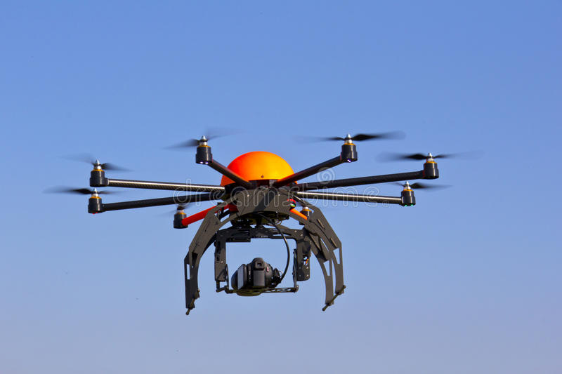 Drone. Flying with an octocopter for video and photo productions