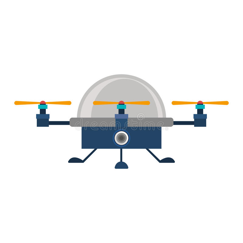 Drone advanced with cabin and three airscrew. Vector illustration vector illustration