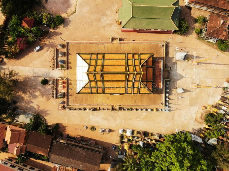 Aerial boudhist temple pagoda in Siem-Reap, Cambodia. Drone aerial bird eye view of a boudhist temple pagoda in Siem-Reap, Cambodia stock images